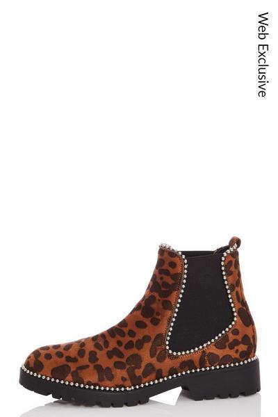Leopard Print Stud Ankle Boots